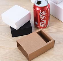 Size:12*12*2.2cm Kraft gift paper box Black Paper Box with Sliding Drawer White Paper Cosmetic Packaging boxes 20pcs/lot