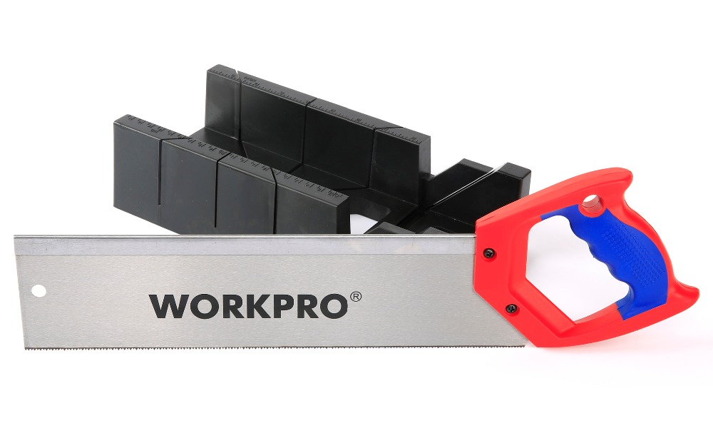 WORKPRO 14 inch Hacksaw with Mitre Box Woodworking Tool Set<br>