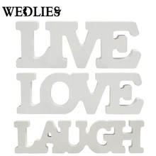 3Pcs/set White Wooden Live Laugh Love Words Sign Plaque Birthday Decor Gift Sign Table Plaque Craft Wedding Birthday Home Party