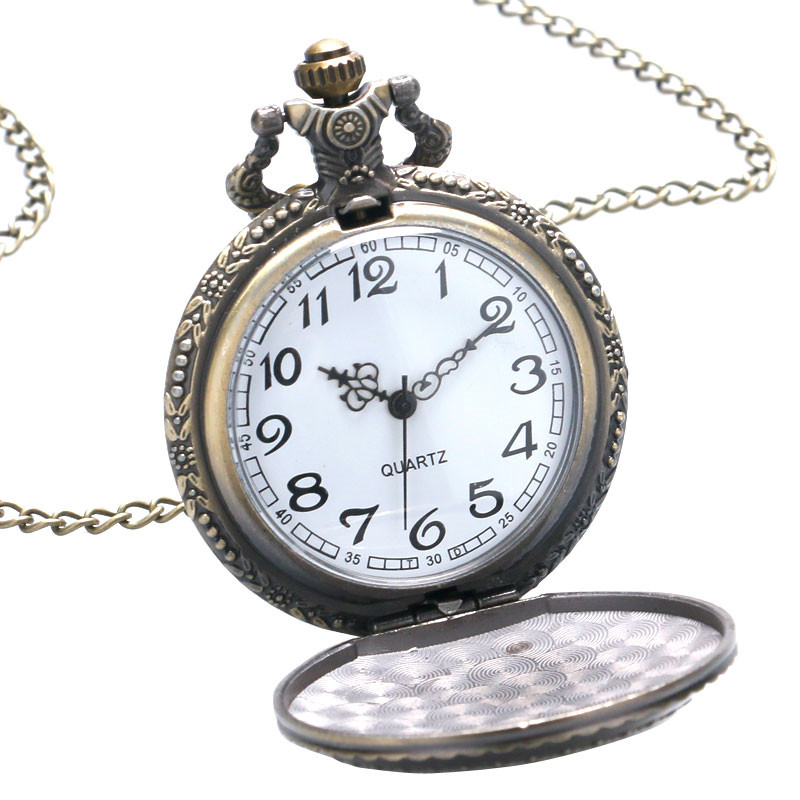 Vintage Bronze Cute Stars Circle Moon 3D Carving Quartz Pocket Watch Necklace Pendant Men Women Unisex Clock Birthday Gifts saat (2)