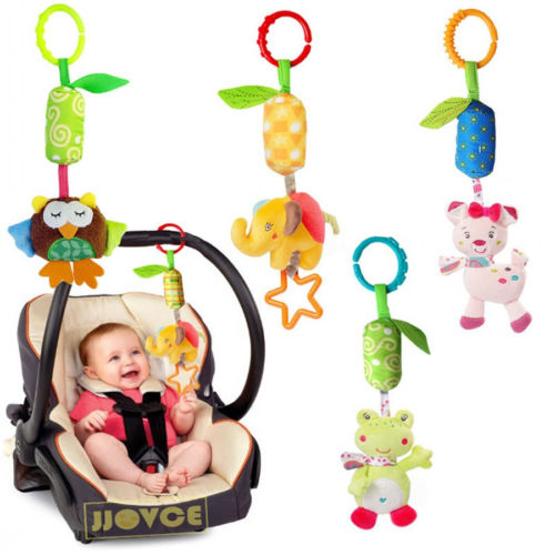 2017 New Baby Crib Stroller Cot Buggy Pram Car Seat Revolving Hanging Rattles Dangle Toy Baby Rattles Mobiles Handbell(China)