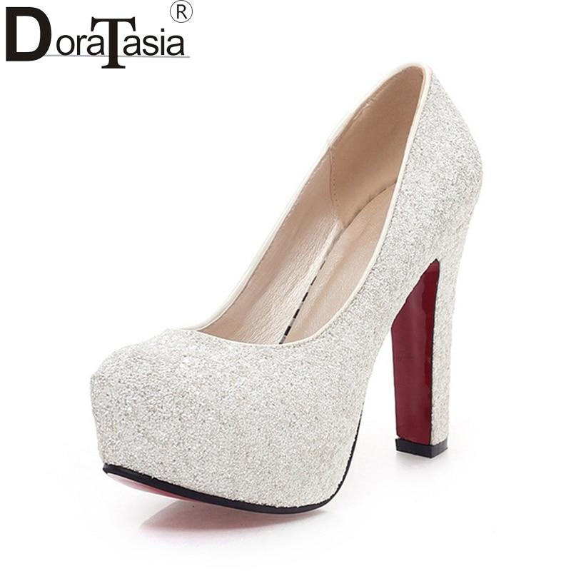 DoraTasia  Top Quality Big Size 31-43 Platform high-heeled Women Shoes Woman Pumps Bling Upper Party Wedding Shoe Spring Summer<br>