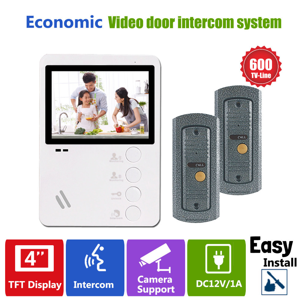 Homefong 4 TFT LCD Color Door Phone Video Intercom Camera With Door Bell Entry System 2 Outdoor Station+1 Indoor Monitor<br><br>Aliexpress
