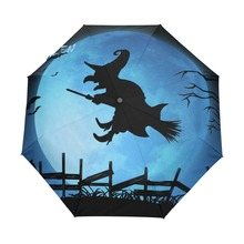Happy Halloween Witch Blues Moon Custom Portable Folding Umbrella Travel Design Rain and Sun Beach Umbrellas Hat Unique Parasol(China)