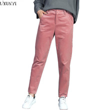 LXUNYI Autumn Winter New Slim Thin Fashion Corduroy Pants Striped Womens Harem Pants 2017 Mid Waist Slim Pencil Trousers Pink 33(China)