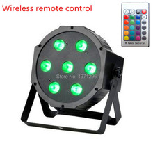 2017 HOT Wireless remote control 7x19W LED Par Light Flat Can DMX-512 RGB 3 in1 For DJ Party Disco FREE&FAST SHIPPING