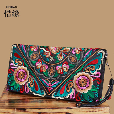 XIYUAN BRAND Original Design of Ethnic Sided embroidery satin embroidery standard clutch wallet and purse Casual Lady hand bags <br>