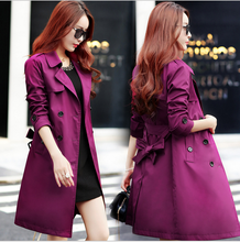 2017 Spring  Autumn New Women Fashion Trench Double-Breasted Turn-Down Collar Long Women Coat W918
