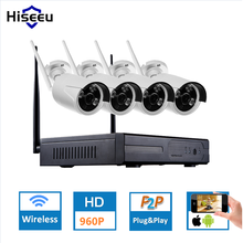 Hiseeu 4CH 960P HD Wireless  IP Camera CCTV System Wireless NVR IR-CUT Bullet CCTV Camera Home Security System Surveillance Kit