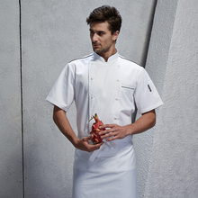 Chef Workwear Short Sleeve Fall Men Dining Restaurant Hotel Kitchen Clothes Men White apron