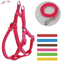 (10 Pieces/Lot)1.0cm 1.5cm Pet Harness Soft Nylon Dot Style Dog Chest Strap Safety Belt Dog Puppy Harness Leash Lead