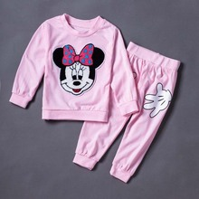 2016 New Mickey Suit Coat + Pants For Girls 2 PCS/Set Children's Leisure Long-Sleeved Jacket Leggings(China)