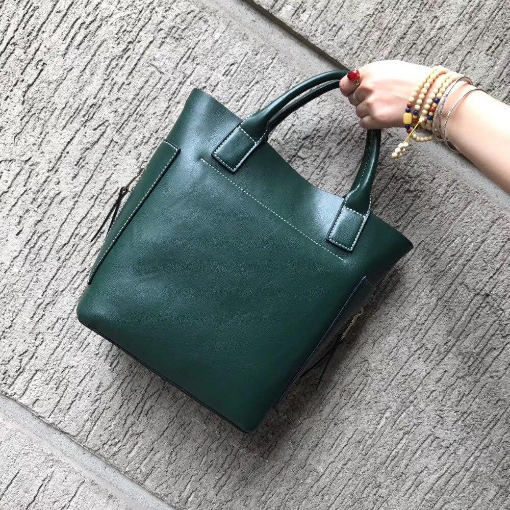 2017 high quality retro simple tote bag genuine leather shoulder bag handbag barrel solid big handbag large capacity womens bag<br>