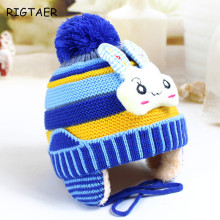 Baby boy and girl hats 2017 new cartoon rabbit bunny hat 0-3 Y winter split ear care plus cashmere warm baby knitting hat caps(China)