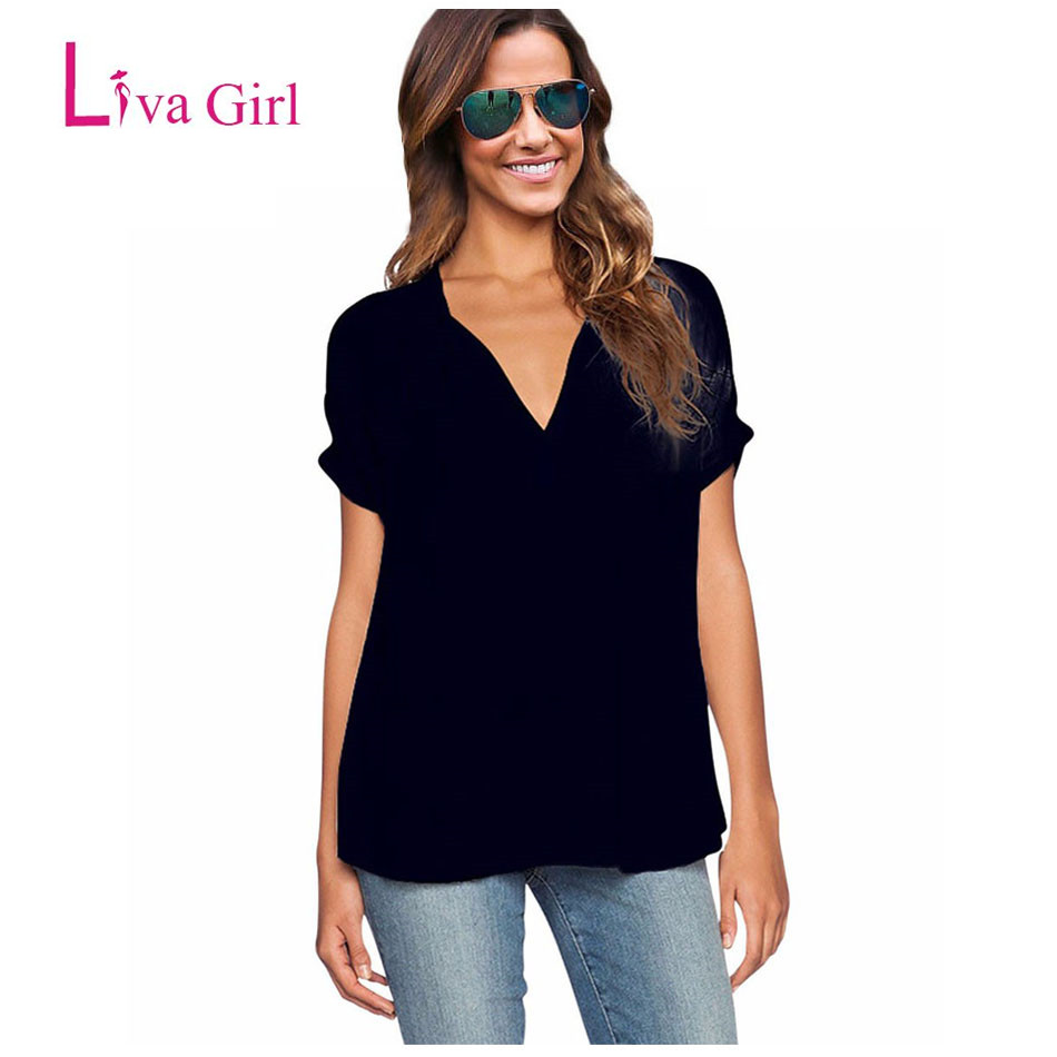 Black t shirt on girl - Liva Girl Black T Shirt Women V Neck Oversize Chiffon Top Casual Plus Size T Shirt Women Shirts 2017 T Shirt Female Summer Solid