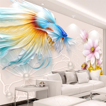 beibehang papel de parede 3d  Custom wallpaper, atmospheric 3D, three-dimensional relief, goldfish, lotus jewelry, television ba