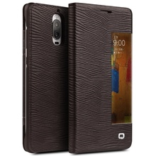 Original QIALINO for Huawei Mate 9 Pro Case Smart Screen On/Off Flip View Window Lizard Cowhide Leather Cell Phone Cover - Brown