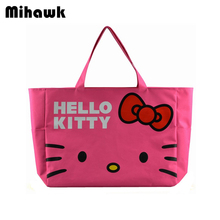 High Capacity Cute Hello Kitty Handbag Foldable Girl's Women's Travel Organizer Shoulder Bags Accessories supplies products(China)