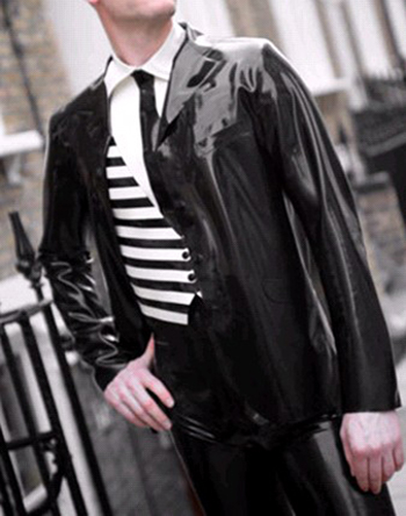 handsome black latex Men's jacket fetish rubber coat  gummi 0.4mm with long sleeves plus size hot sale Customize Service