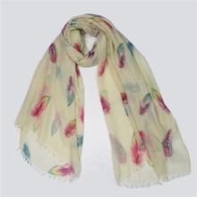 2017 Spring Scarf For Women Large Size Lencos Shawl Nice Accessories Light Yellow Leaves Print Female Scarf Wrap Tippet Bandana