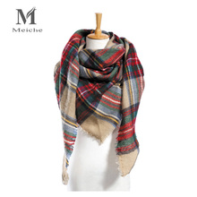 Winter Triangle Brand Plaid Cashmere Scarf Women Oversized Blanket Scarf Wrap Warm Wool Scarf Women Pashmina Shawls and Scarves(China)