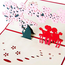1Pc 3D Pop Up Paper Laser Cut Carving Sakura Lovers Sweetheart PostCard Wedding Party Greeting Cards Wishes Gifts for lover(China)