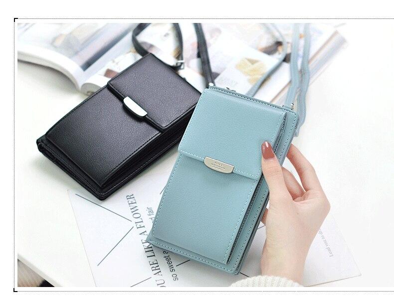 19 New Women Casual Wallet Brand Cell Phone Wallet Big Card Holders Wallet Handbag Purse Clutch Messenger Shoulder Straps Bag 20