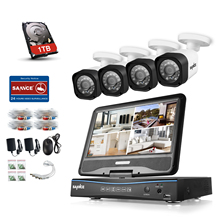 "SANNCE All in one 8CH 720P DVR with built-in 10.1"" LCD monitor and 4 pcs HD 1500tvl 1.0MP CCTV Cameras 1TB Hard Drive(China)"