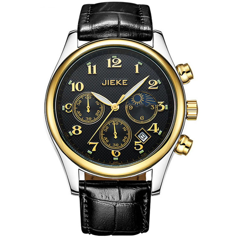 Luxury Brand JK Black Watch Men Leather Reloj Hombre Quartz Sport Business Moonphase Full Steel Wristwatches Relogio Masculino<br><br>Aliexpress