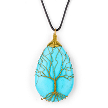Tree of Life Necklace Natural Crystal Faux Stone Pendant Leather Chains Necklace For Women Fine Jewelry