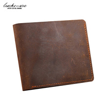 Crazy Horse Leather Men's Wallets With Card Holder Genuine Leather Designer Black Short Vintage Man Purses For Men Carteira 2017