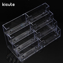 Kicute Desktop Office Business Card Holder 8 Pockets Stand Clear Transparent Acrylic Counter Display Stand Office Home Supplies