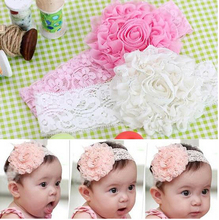 Lovely Kids Flower Bow Lace Headband Headwear Hair Band Girl Infant Toddler hair accessories children hair ornament 3 Colors 006