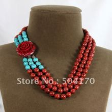 Free Shipping 3 Rows 8mm Red Spong Coral Necklace Red Rose Resin Flower Pendant Ladies Jewelry Anniversary Gifts CRN029
