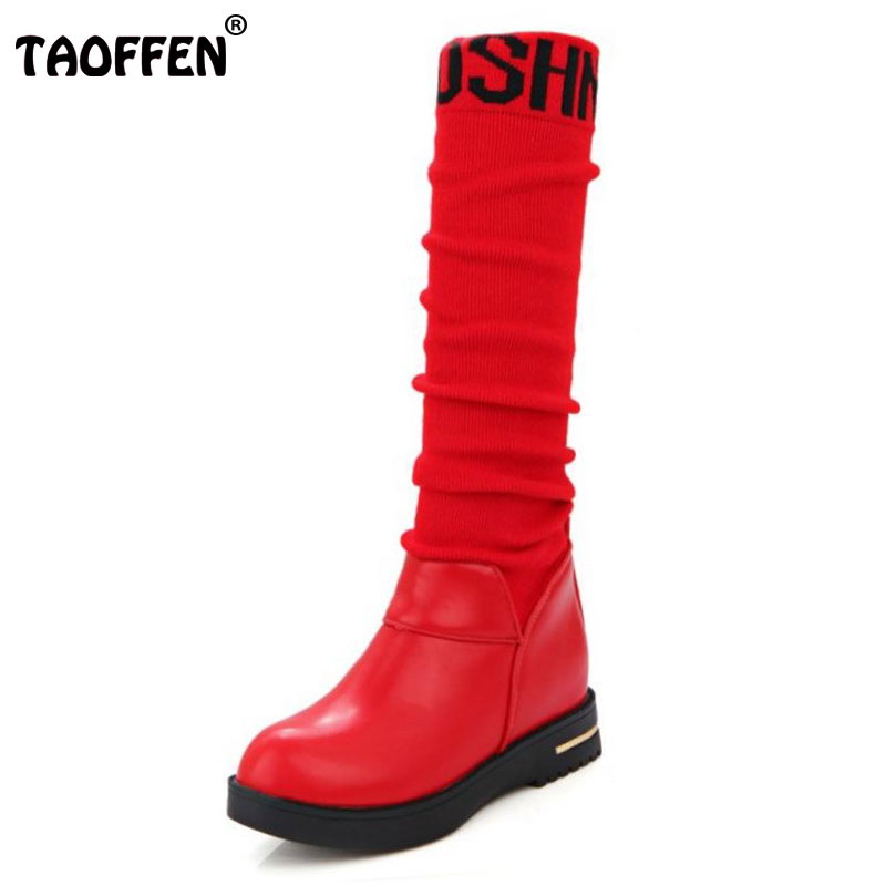 TAOFFEN Women Round Toe Knee Boots Woman New Flat Leisure Shoes good quality Ladies Autumn Winter Bootines Mujer Size 34-43<br>