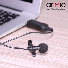 AriMic USB Recording Lavalier Microphone Clip-on Lapel Omnidirectional Condenser Mic for Macbook Pro Air Computers PC Laptop