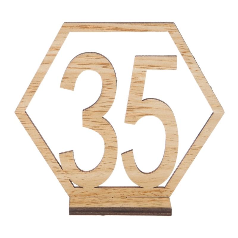 Tarjeta de n/úmero de mesa de madera hueca en forma de coraz/ón 10,5 x 10,3 x 0,3 cm ideal para bodas