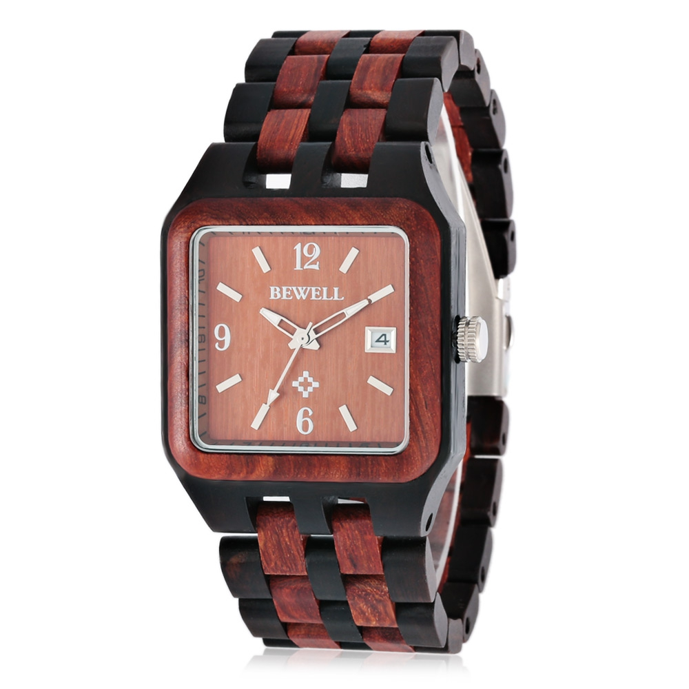 BEWELL Fashion Wooden Men Quartz Watch with Japan Movement Luminous Pointers Wristwatch<br>