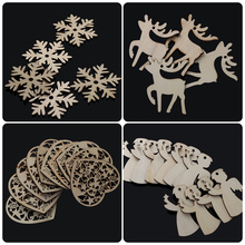 10PCS/Pack DIY Christmas Snowflakes Deer Tree Pattern Wooden Pendants Ornaments Christmas Party Decorations Xmas Tree Ornaments(China)
