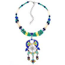 Olsen Twins Ethnic Resin Beads Chain Necklace Epoxy Enamel Pendant Necklaces For Women 2017 New Collection Jewelry(China)