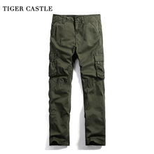 TIGER CASTLE Military Cargo Pants Men Casual Multi Pockets Cotton Tactical Long Trousers Khaki Baggy Brand Mens Track Pants(China)