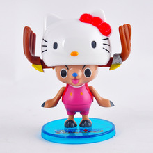 Anime One Piece Figure Cute Tony Tony Chopper Cos Hello Kitty PVC Action Figures Collectible Model Kawaii Kids Toys Doll 8CM(China)