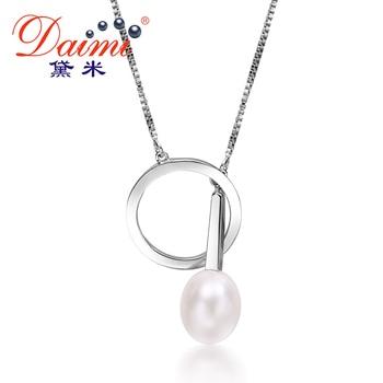 Daimi 9-10mm tear gota de agua dulce de la perla plata de ley 925 colgante de collar de diseño caliente