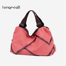 longmiao Vintage Women New Plain Canvas Tote Bag Splice Grafting Vintage Shoulder Handbag Large Travel Tote Bag Bolsa de Ombro