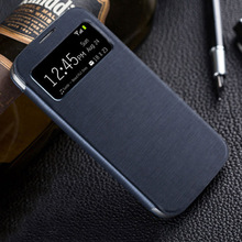 Leather Case Flip Cover Smart View For Samsung Galaxy S4 I9500 I9505 Auto Sleep Wake Up Slim Original Phone Cases For Samsung S4