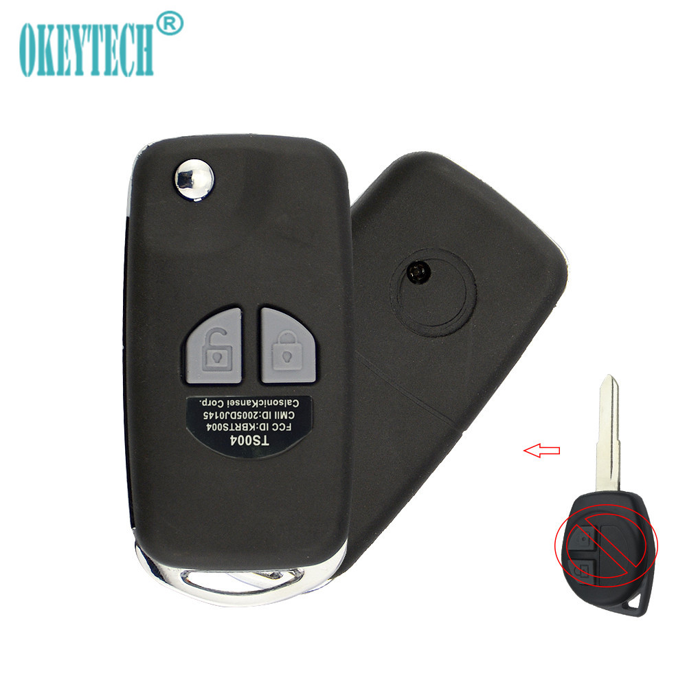 OkeyTech Modified Flip Folding Remote Car Key Shell For Suzuki Swift Grage Vitara Alto Auto Accessories 2 Buttons Key Case Cover(China)