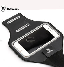 Baseus Adjustable Sport gym Armband Bag Case Waterproof Jogging Arm Band Mobile Phone Belt Cover 4.7/5.5 inches(China)