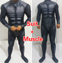 Custom Made High Quality Batman Costume Black batman suit with muscle spandex lycra zentai without chest logo Cosplay Costume
