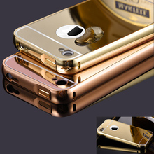 for iPhone 4 4s Case Metal Bumper Cases Golden plating Aluminum Frame + Mirror Acrylic Back Cover black for iPhone4 iPhone4s(China)