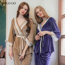 SHILO GO Flannel Pajama Suit Women 2017 Lace Embroidery Flannel Pajama Suit Sets V Neck Sexy Thick Blet Pijama Costume Sleepsuit(China)
